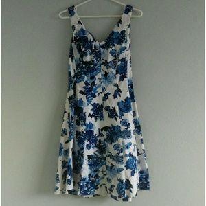Spring Summer Floral Blue Dress v neck